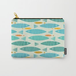 Shimmering Scandinavian Fish In Blue And Gold Pattern Carry-All Pouch