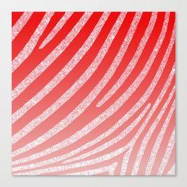 Pink Red Ombre Zebra Stripe Glitter Canvas Print