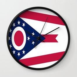 flag of Ohio,Midwest,Ohioan,Buckeye,Colombus,Cleveland,Cincinnati,Usa,america,united states,us Wall Clock