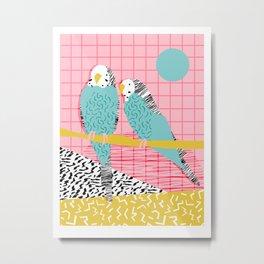 Hottie - throwback retro 1980s 80s style memphis dots bird art neon cool hipster college dorm art Metal Print