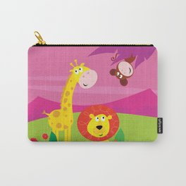 Africa family : Baby giraffe, monkey, lion / All together Carry-All Pouch