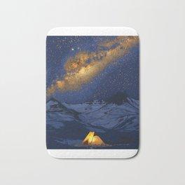Glowing Tent Under Milky Way Bath Mat