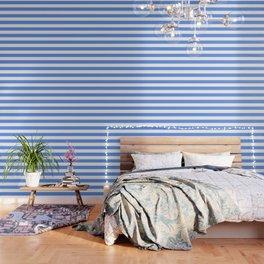 Cornflower blue - solid color - white stripes pattern Wallpaper
