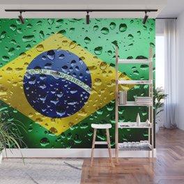 Flag of Brazil - Raindrops Wall Mural
