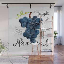 Watercolor grapes Wall Mural