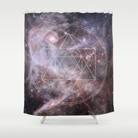 sacred geometry Shower Curtains featuring Sacred Geometry Universe by Gaudy