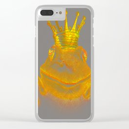Simple Golden King Frog on Grey Day Clear iPhone Case