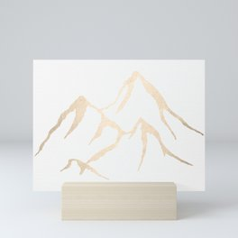 Adventure White Gold Mountains Mini Art Print