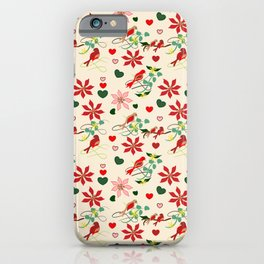 Christmas Birds Cream Background iPhone Case