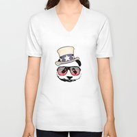 patriotic V-neck T-shirts featuring Patriotic Panda by crayzeestuff