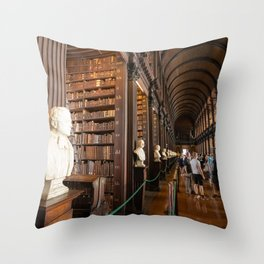 The Long Room of Trinity College Library in Dublin, Ireland Throw Pillow