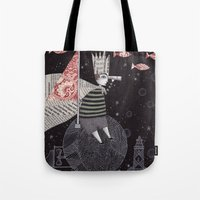 yetiland Tote Bags featuring Five Hundred Million Little Bells (3) by Judith Clay