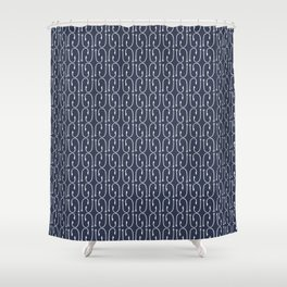 Fish Hooks in Navy Blue Shower Curtain