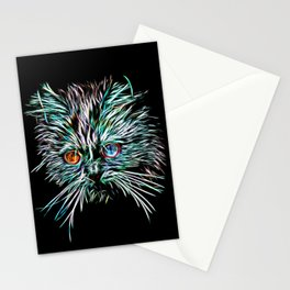 Odd-Eyed White Glowing Cat Stationery Cards