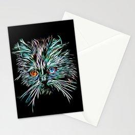 Odd-Eyed White Glowing Cat Stationery Cards