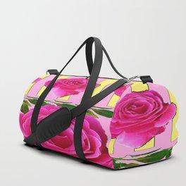 CERISE PINK SPRING  ROSE FLOWERS YELLOW STRIPES  PATTERN Duffle Bag