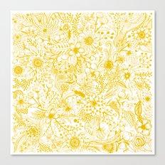Yellow Floral Doodles Canvas Print