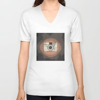 vintage camera V-neck T-shirts featuring Camera by Mr and Mrs Quirynen