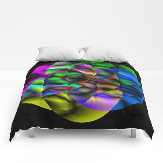 Concentric Vibrancy - Abstract, neon, geometry artwork Comforters