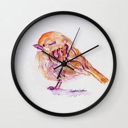 Little Purple Brown Sparrow watercolor by CheyAnne Sexton Wall Clock