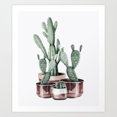 Potted Cacti Rose Gold Art Print