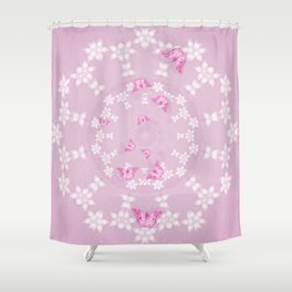 Pretty pink butterflies on flower mandala Shower Curtain
