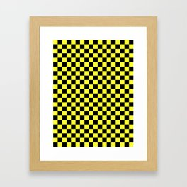 Black and Electric Yellow Checkerboard Framed Art Print