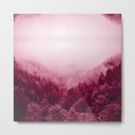 deep pink forest abstract nature landscape print smoke look Metal Print