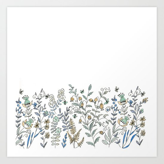 Watercolor pattern . The flowers of the field . 2 Art Print
