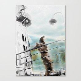 Woman on Ship Rails Canvas Print