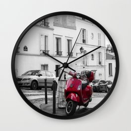 Red Vespa in Paris Wall Clock