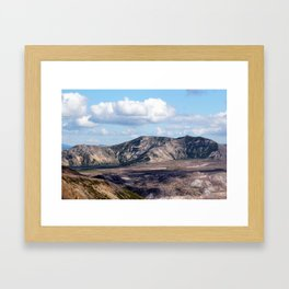 Lake and mountain view near Johnston's Ridge, probably Coldwater Lake and Clearwater Lake Framed Art Print