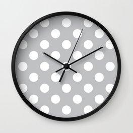 Silver sand - grey - White Polka Dots - Pois Pattern Wall Clock
