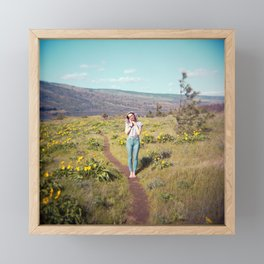 Daydreaming Girl in the Gorge - Rowena Crest Trail in the Columbia River Gorge - Film Photograph Framed Mini Art Print