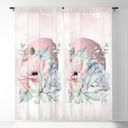 Pretty Succulents Rose Gold Sun Pink by Nature Magick Blackout Curtain