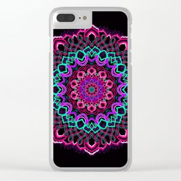 Project 208 | Colorful Mandala on Black Clear iPhone Case