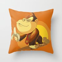 donkey kong Throw Pillows featuring Kong by Rod Perich