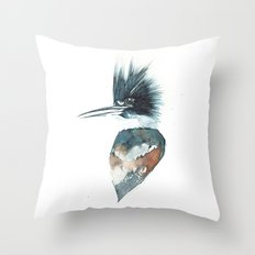 Kingfisher Watercolour Portrait Throw Pillow