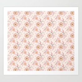 Pink Peony Kiss Floral Pattern Art Print