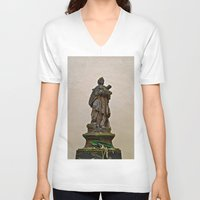 prague V-neck T-shirts featuring PRAGUE by ALX RUTECKI
