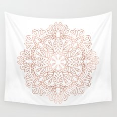 Mandala Rose Gold Pink Shimmer by Nature Magick Wall Tapestry