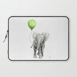 Baby Elephant with Green Balloon Laptop Sleeve