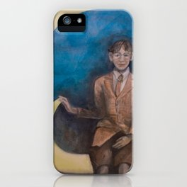 Watercolor Portrait of Boy on a Crescent Moon iPhone Case