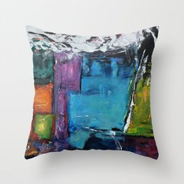 TETRIS, Abstract  Acrylic Painting, colorful mosaic Throw Pillow