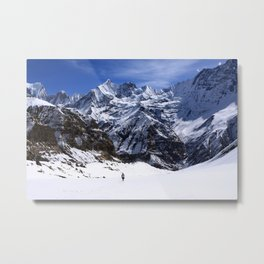 Hiker In Mountain Landscape Metal Print