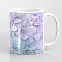 outdoor Mugs featuring Soft Pastel Hydrangea by Judy Palkimas