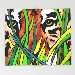 Tiger Eyes Looking Through Tall Grass By annmariescreations Throw Blanket