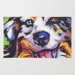 Fun AUSTRALIAN SHEPARD Dog bright colorful Pop Art Rug
