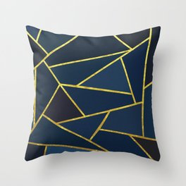 The Color of Navy And Gold Throw Pillow