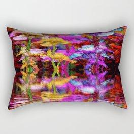 PURPLE-WHITE IRIS  WATER GARDEN  REFLECTION Rectangular Pillow